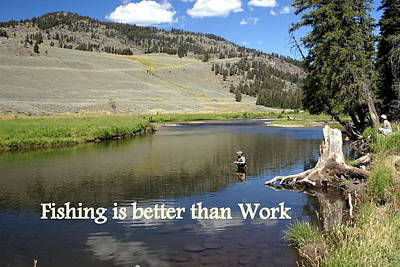 Greeting Card - Fishing Is Better Than Work by Marty Koch