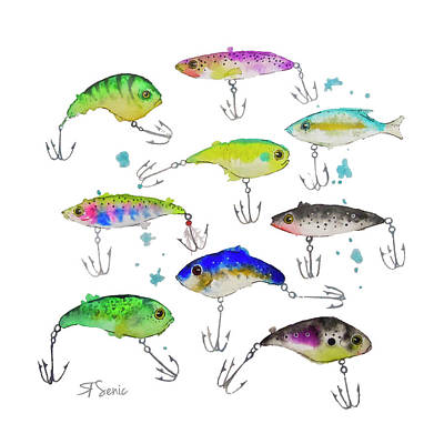 Fishing Is Fly No3 Art Print by Roleen  Senic