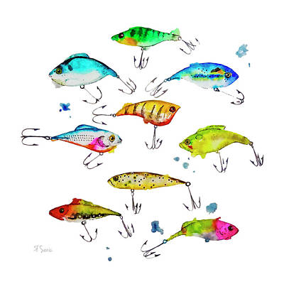 Fishing Is Fly No4 Art Print by Roleen  Senic