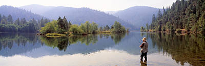 Fishing, Lewiston Lake, California, Usa Art Print by Panoramic Images