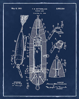 Phish Photograph - Fishing Lure Patent 1951 Blue by Bill Cannon