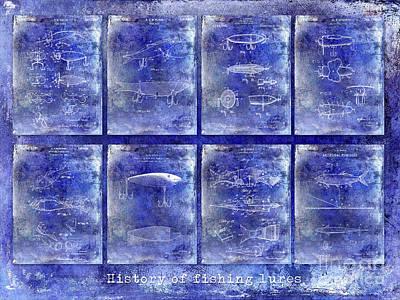 Lure Photograph - Fishing Lure Patent History Blue by Jon Neidert