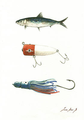 Fishing Wall Art - Painting - Fishing Lures by Juan Bosco