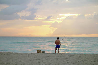 Photograph - Fishing Miami Beach by Art Block Collections