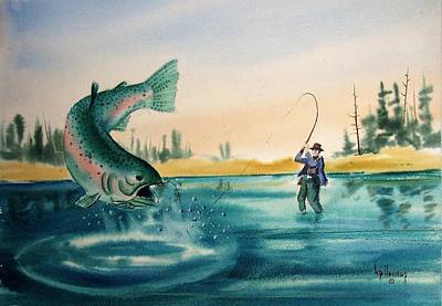Fishing Montana Art Print by Kevin Heaney
