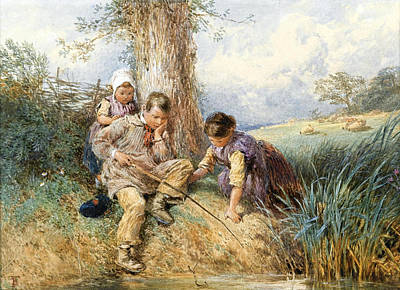 Drawing - Fishing by Myles Birket Foster