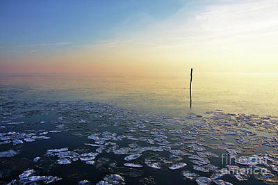 Photograph - Fishing Net Stick In Calm Frozen Water by Jan Brons