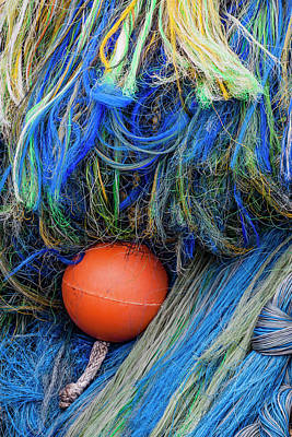 Net Photograph - Fishing Nets And Buoy by Carol Leigh