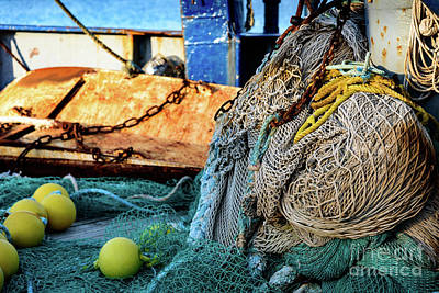 Photograph - Fishing Nets And Fishing Gear In Boat In Rhodes, Greece by Global Light Photography - Nicole Leffer