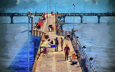 Fishing Off Galvaston Pier Art Print