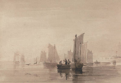 Drawing - Fishing Off Hastings by David Cox