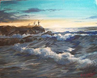 Painting - Fishing Off Point Judith R.i. by Perrys Fine Art