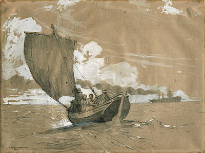 Winslow Homer Glass Art - Fishing Off Scarborough by Winslow Homer