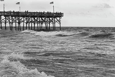 Print featuring the photograph Fishing Off The Pier At Myrtle Beach by Chris Flees