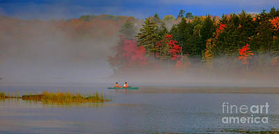 Photograph - Fishing On A Maine Lake In Fog by Olivier Le Queinec