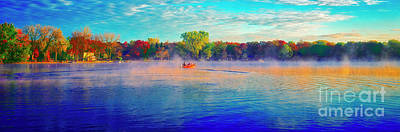 Fishing On Crystal Lake, Il., Sport, Fall Art Print
