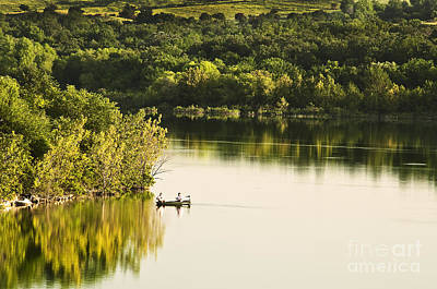 Art Print featuring the photograph Fishing On Mountain Lake by Tamyra Ayles