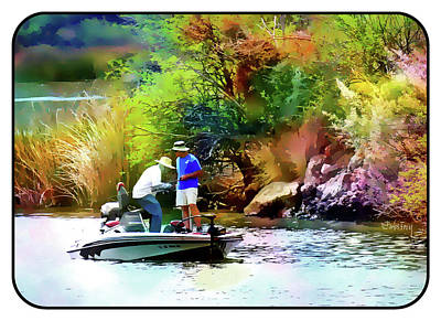 Fishing On Saguaro Lake In Arizona Art Print