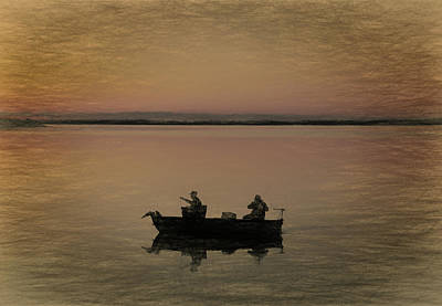 Mixed Media - Fishing On The Boat by Dan Sproul