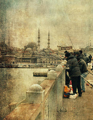 Fishing On The Bosphorus Art Print