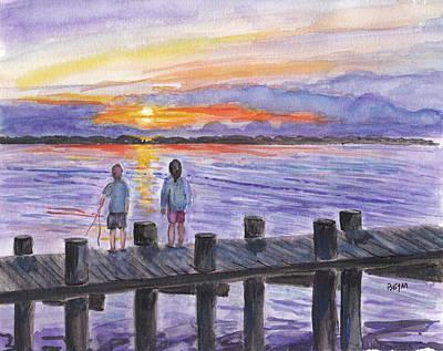 Painting - Fishing On The Dock by Clara Sue Beym