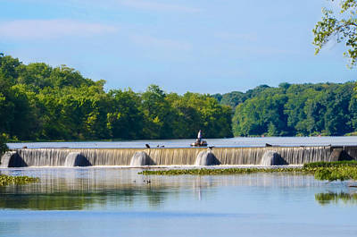 Fishing On The Millstone River - Kingston New Jersey Print by Bill Cannon