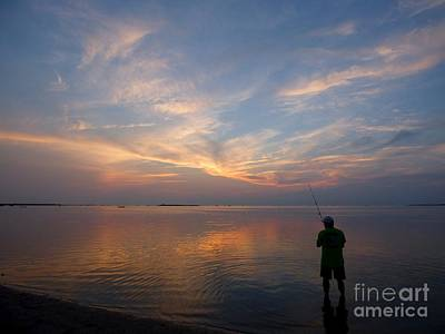 Photograph - Fishing On The Sound At Sunset by Jean Wright