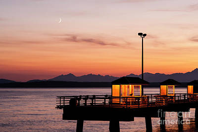 Photograph - Fishing Pier On Elliott Bay With Moon And Olympic Mountains by Jim Corwin