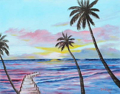 Fishing Pier Sunset Art Print by Lloyd Dobson
