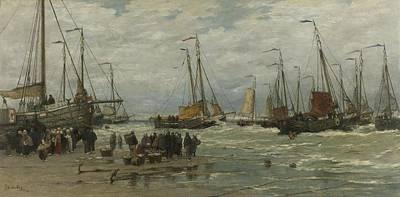 Painting - Fishing Pinks In Breaking Waves Hendrik Willem Mesdag C 1875  C 1885 by R Muirhead Art