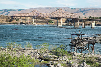 Photograph - Fishing Platform At The Dalles Bridge by Tom Cochran