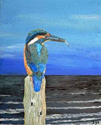 Fishing Post Kingfisher Of Eftalou. Print by Eric Kempson