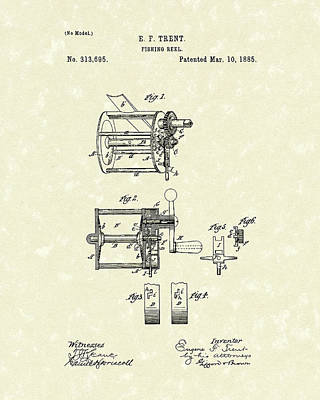 Fishing Reels Drawing - Fishing Reel 1885 Patent Art by Prior Art Design