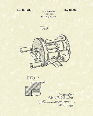 Drawing - Fishing Reel 1937 Patent Art by Prior Art Design