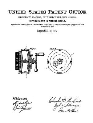 Reel Drawing - Fishing Reel Patent 1874 by Bill Cannon