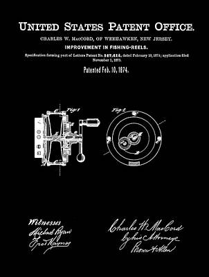 Reel Drawing - Fishing Reel Patent 1874 Black by Bill Cannon