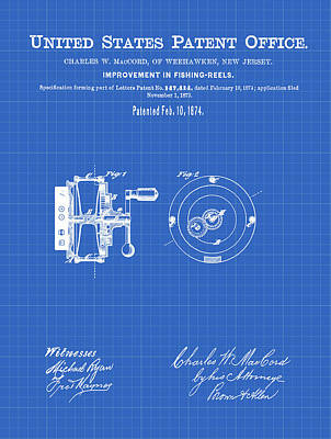 Reel Drawing - Fishing Reel Patent 1874 Blueprint by Bill Cannon