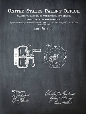 Reel Drawing - Fishing Reel Patent 1874 Chalk by Bill Cannon