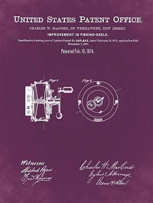 Reel Drawing - Fishing Reel Patent 1874 Red by Bill Cannon