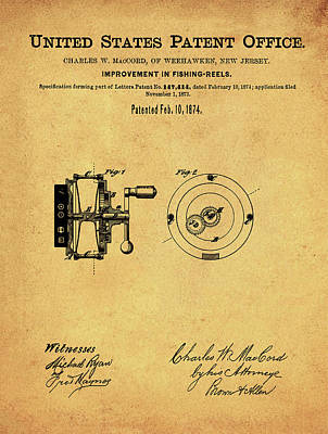 Reel Drawing - Fishing Reel Patent 1874 Vintage Sepia by Bill Cannon