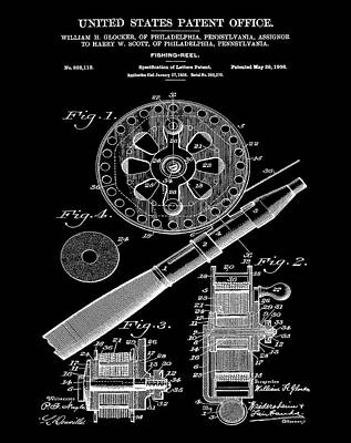 Reel Drawing - Fishing Reel Patent 1906 Black by Bill Cannon