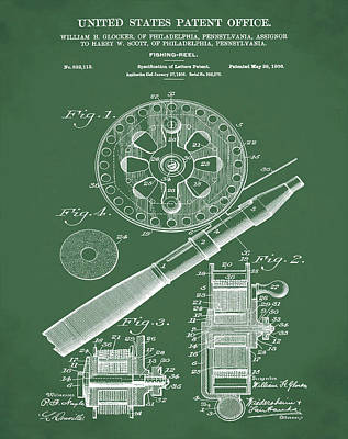 Reel Drawing - Fishing Reel Patent 1906 Green by Bill Cannon