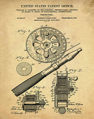 Reel Drawing - Fishing Reel Patent 1906 Vintage Sepia by Bill Cannon