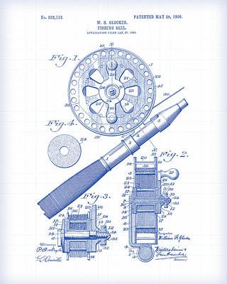 Painting - Fishing Reel Patent Drawing by Gary Grayson