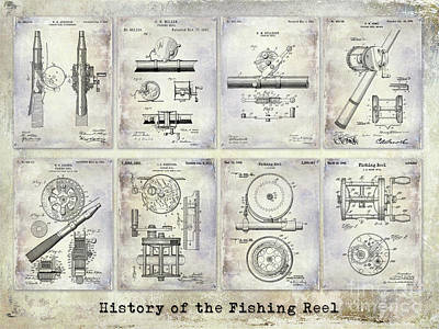 Fishing Reel Patent History Print by Jon Neidert