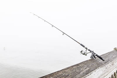 Fishing Rod Folly Beach Sc Art Print by John McGraw