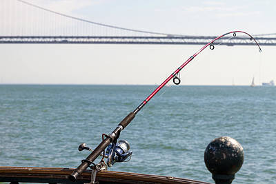 Fishing Rod On The Pier In San Francisco Bay Art Print