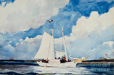 On The Beach Painting - Fishing Schooner In Nassau by Winslow Homer