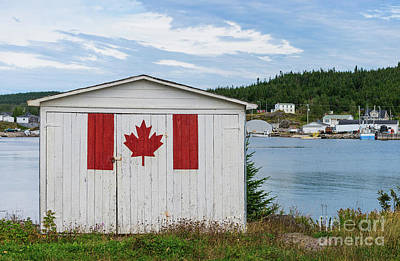 Photograph - Fishing Shed With Maple Leaf by Les Palenik