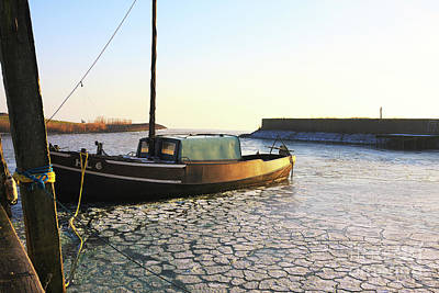 Photograph - Fishing Ship In Harbour by Jan Brons